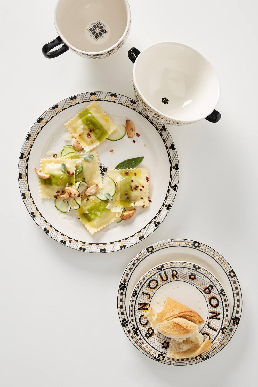 set of 4 bistro tile dinner plates