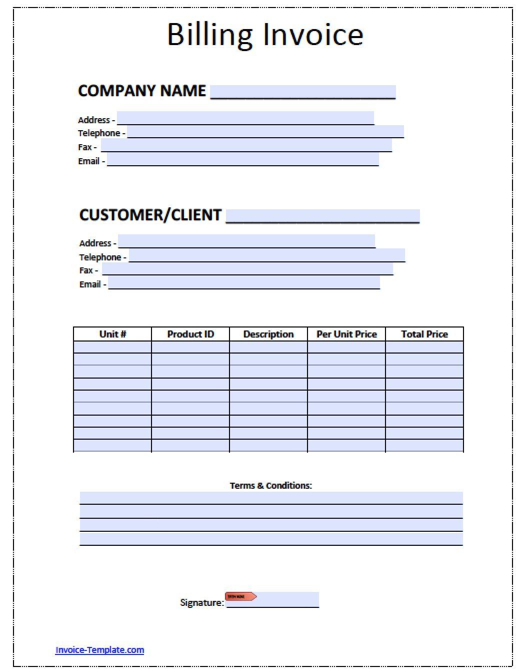 Billing Invoice Templates 18 Free Printable Xlsx Docs Format Invoice Template Word Invoice Template Printable Invoice