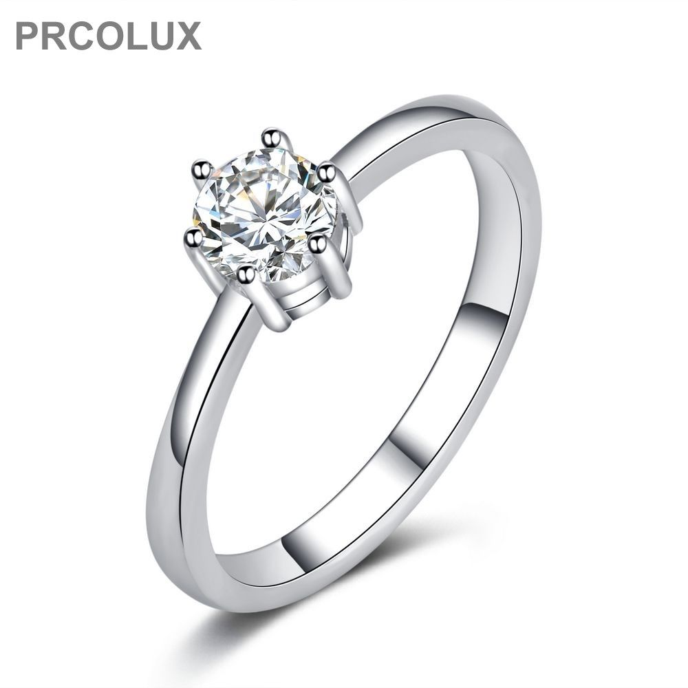 Prcolux fashion wedding rings for women whit cz solitaire