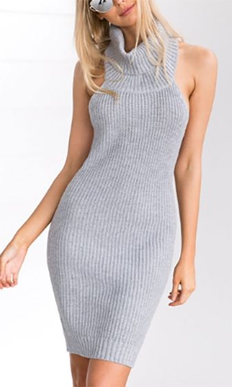 d5dc13b5a9e Force Of Nature Sleeveless Turtleneck Rib Backless Bodycon Sweater Mini  Dress