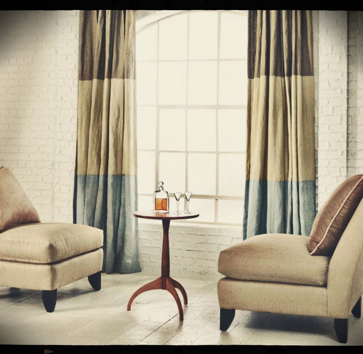 Home decor window  love these heavy color blocked brown green and blue drapes perfect
