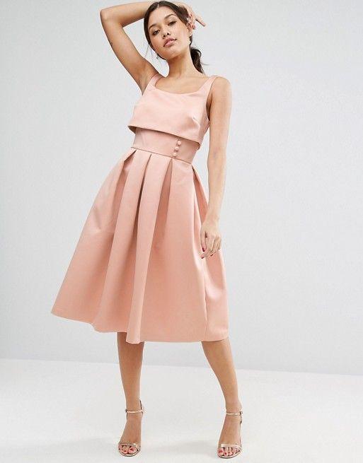 3e0c6ffe2de ASOS Crop Top Prom Dress With Button Detail