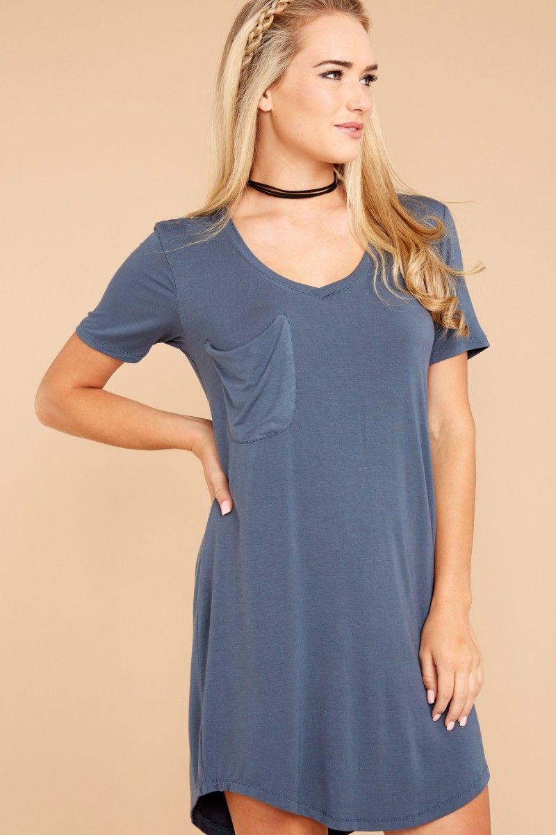 3b7ad98b54112 Z Supply Sleek Jersey Pocket Tee Dress In Orion Blue at reddressboutique.com
