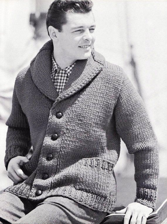 Knit Mens Cardigan With Shawl Collar Vintage Knitting Pdf Pattern