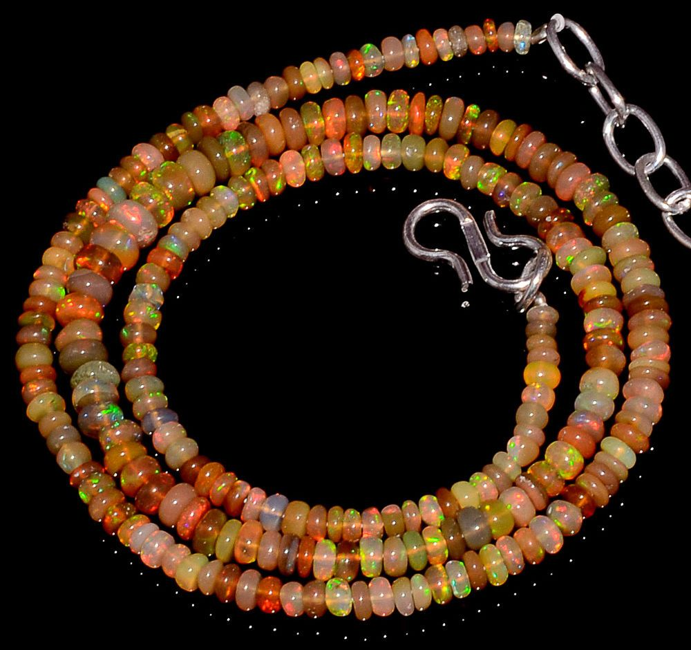 "34CRTS 3to4.5MM 18"" ETHIOPIAN OPAL RONDELLE BEAUTIFUL BEADS NECKLACE OBI2822 #OPALBEADSINDIA"
