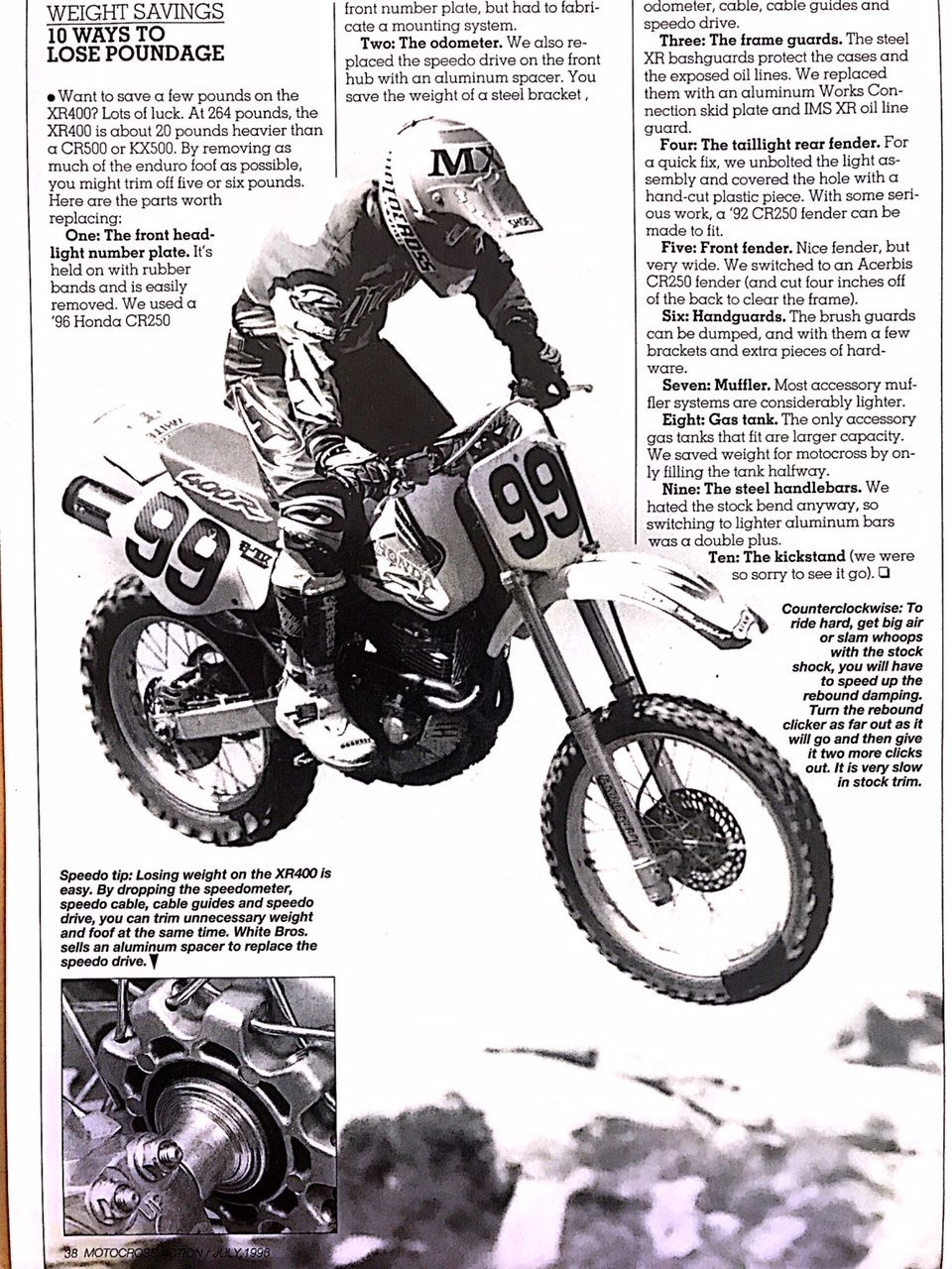 Willy Musgrave testing a Honda XR400 for Motocross Action Magazine.