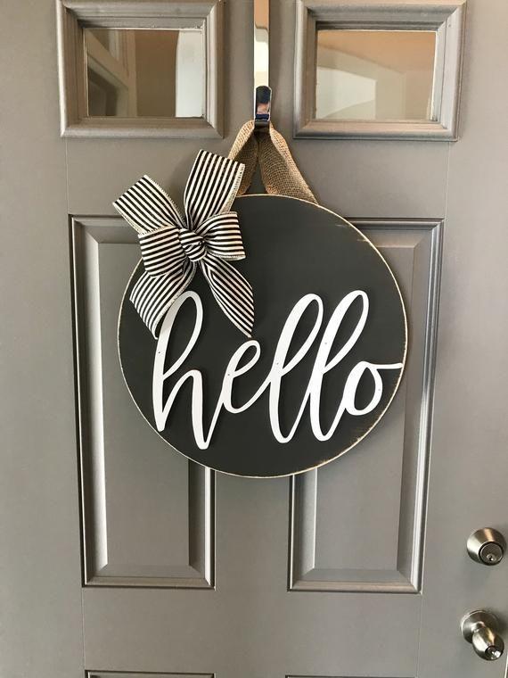 Door Decoration, Hello, Door Hanger, Front Door Decor, Door Wreath, Housewarming Gift, Grey, Home Decor, Wood Round Sign, Door Sign, Modern