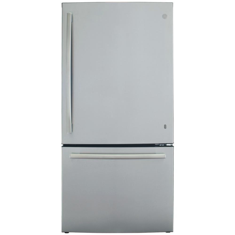 Ge 24 8 Cu Ft Bottom Freezer Refrigerator In Stainless Steel Energy Star Gde25eskss The Home Depot Bottom Freezer Bottom Freezer Refrigerator Refrigerator