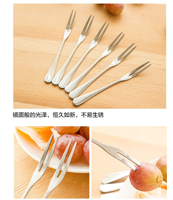 Creative green stainless steel fruit forks dessert fork cake fork outdoor camping barbecue food picks tool bento accessories