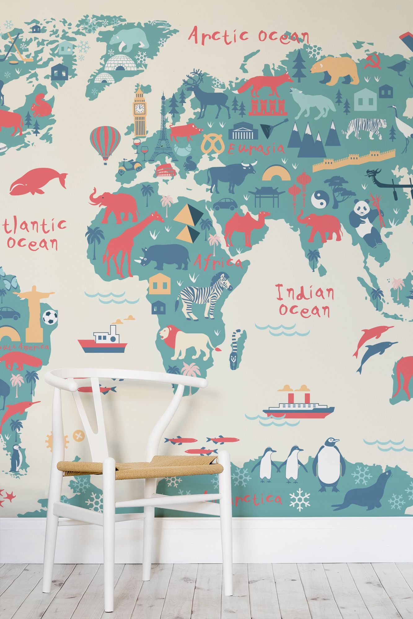 Explorer Kids World Map Mural - Fun map wallpaper for children