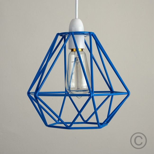 Cage pendant light in a primary blue colour really adds