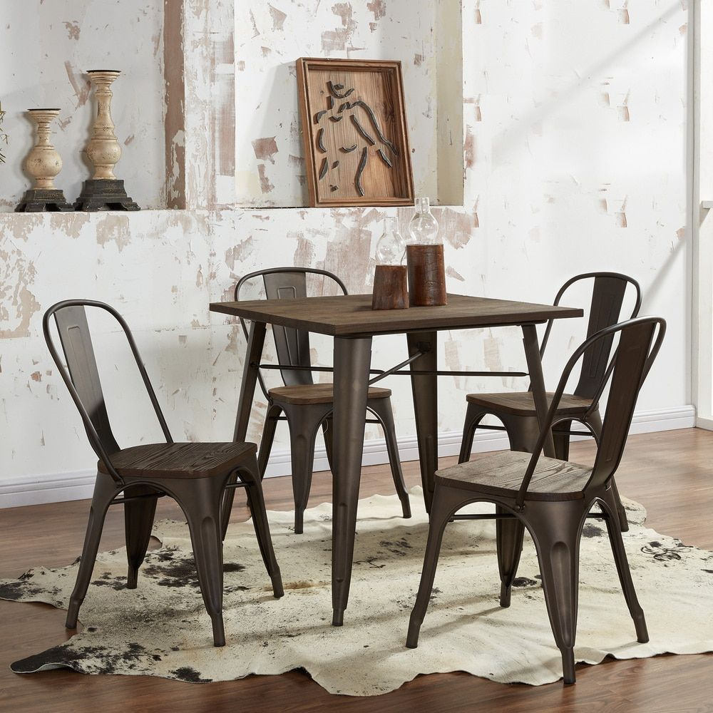 Modus Gunmetal Grey Metal And Wood 5Piece Dining Table Set Custom Grey Dining Room Sets Inspiration Design