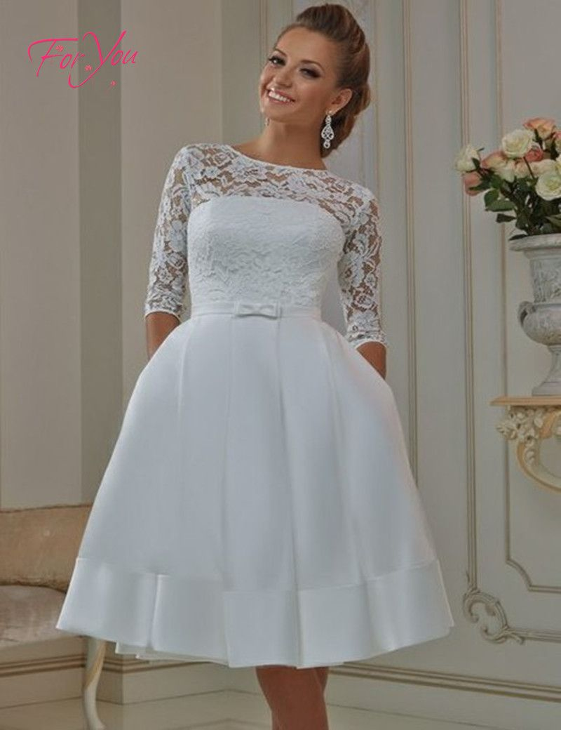 Vintage Style Half Sleeve Lace Satin Tea Length Short Wedding ...