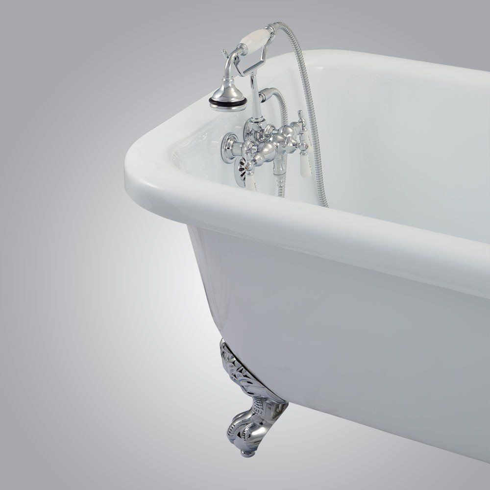 Clawfoot Tub Wall Mount Downspout Faucet With Handshower Clawfoot Tub Faucet Clawfoot Tub Bathroom Bathtub Faucet