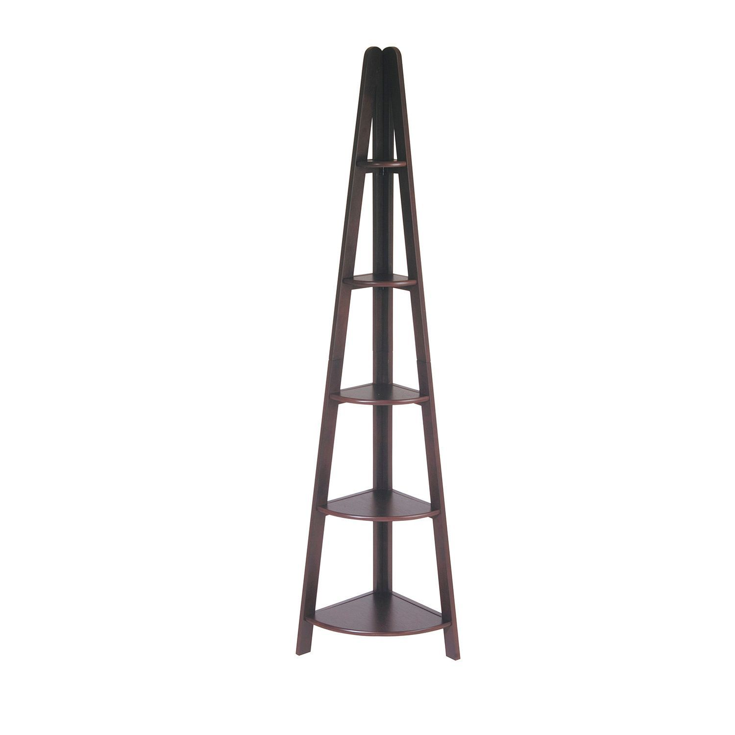 Espresso corner ladder bookcase with five shelves by office star