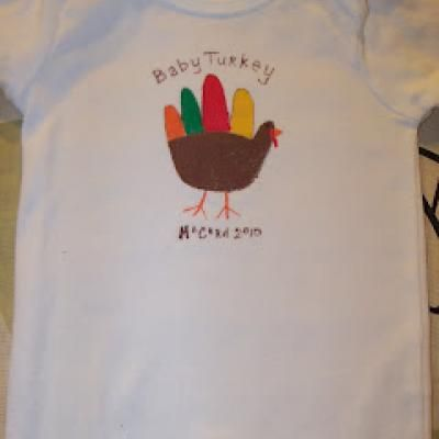 d951126e7 Handprint Turkey Onesie {First Thanksgiving}- cute for the little ones! # thanksgiving