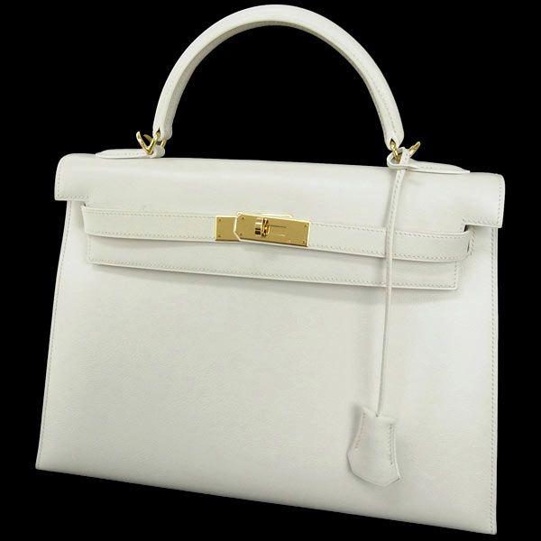 new products 253e0 5d6cf エルメス ハンドバッグ ケリー 32 cm 外縫い ホワイト×ゴールド ...