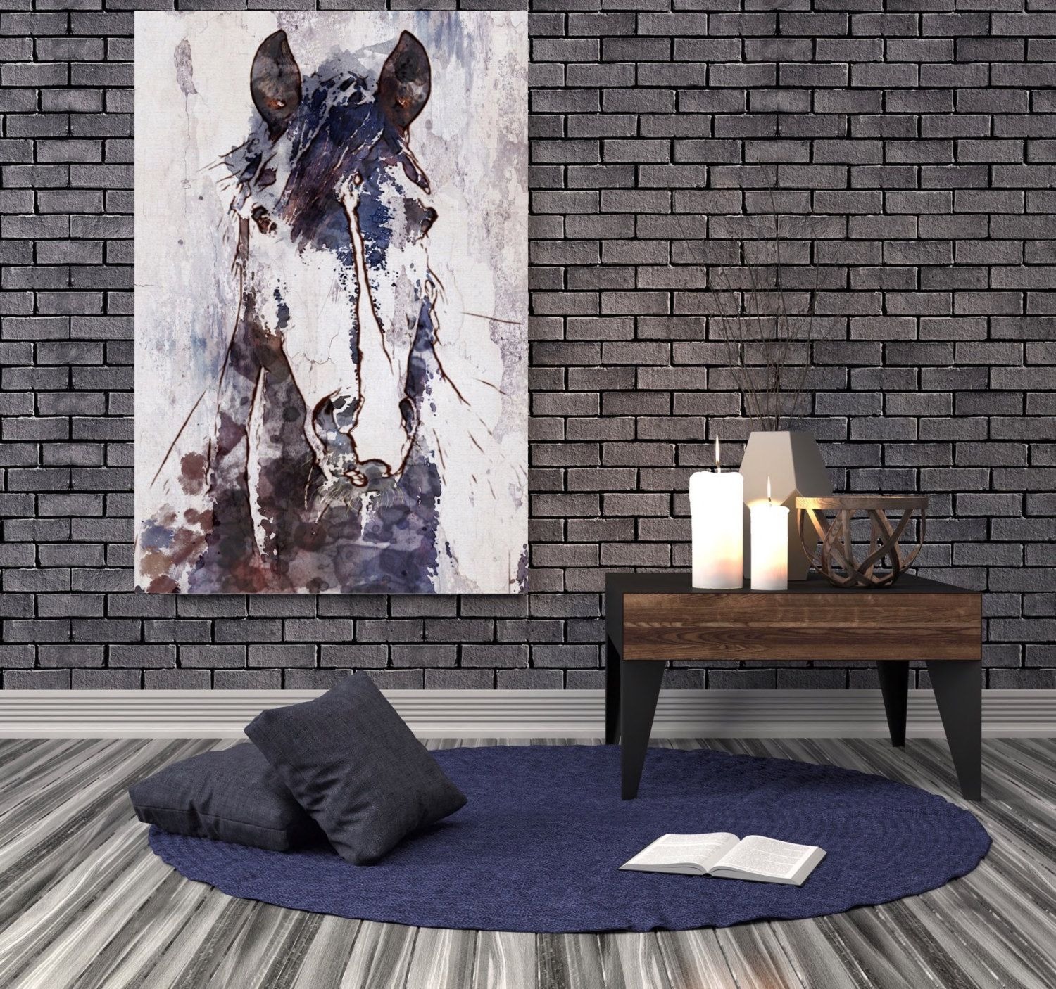 Mustang Horse Extra Large Horse Horse Wall Decor Brown Etsy Horses Wall Decor Contemporary Art Canvas Floral Wall Art Canvases