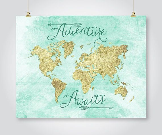 Adventure awaits mint gold world map print download travel baby adventure awaits mint gold world map print download travel gumiabroncs Images