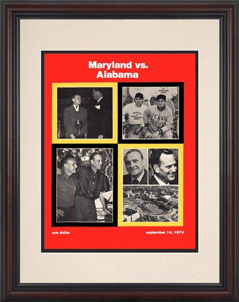 1974 Maryland Terrapins vs Alabama Crimson Tide 8 1/2 x 11 Framed Historic Football Poster