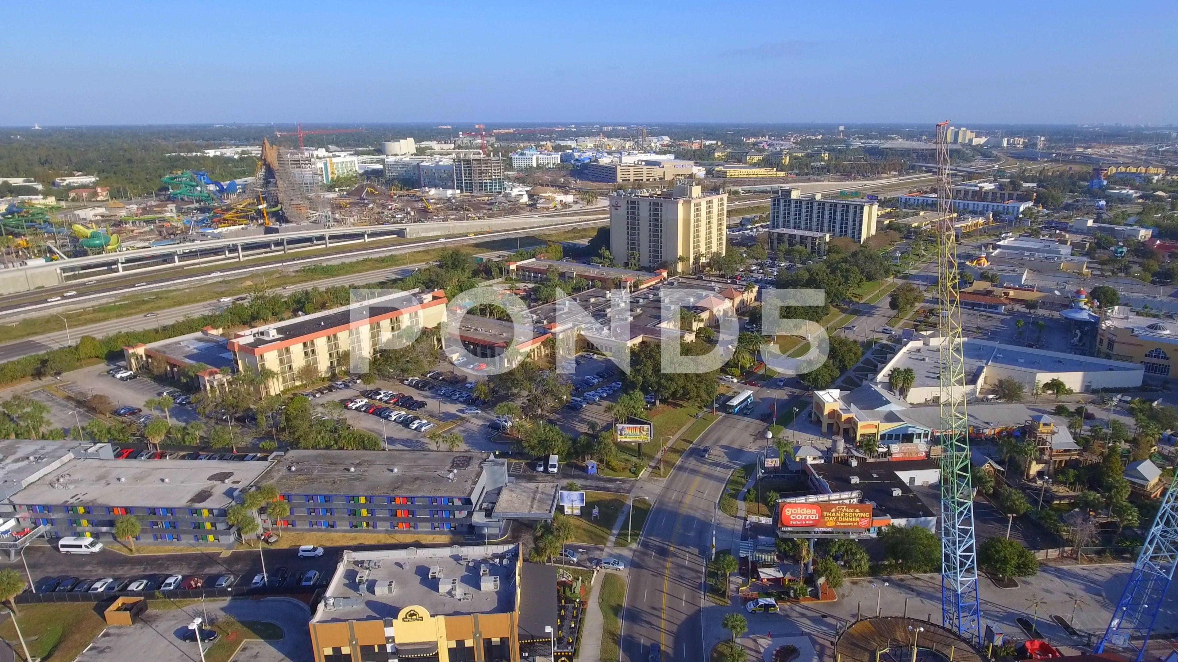 Aerial drone footage International Drive Orlando FL Stock