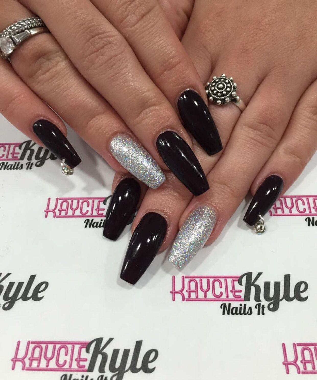 Black Silver Glitter Black Acrylic Nails Red Sparkle Nails Acrylic Nails Coffin Glitter