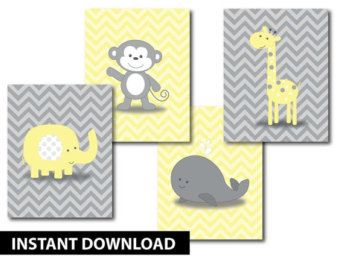 Chevron monkey yellow gray nursery decor art set baby for Babyzimmer grau gelb