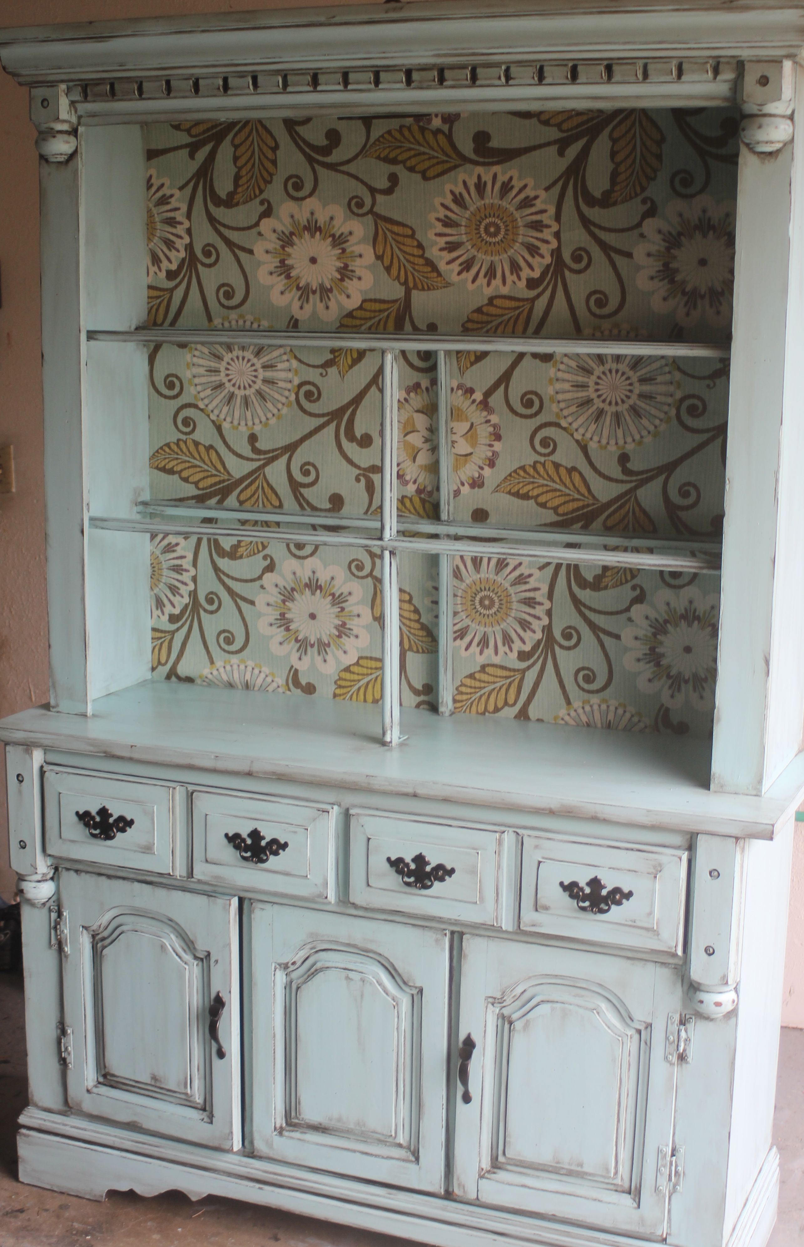 Teal Distressed Amp Aged Vintage Open Front China Hutch For