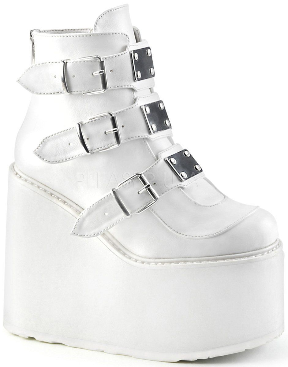 Demonia Damen Gothic Ankle Booties Swing-105 white vegan leather