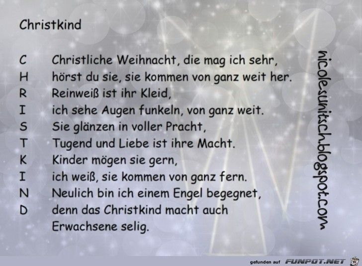weihnachtsgedicht christkind von nicole sunitsch. Black Bedroom Furniture Sets. Home Design Ideas