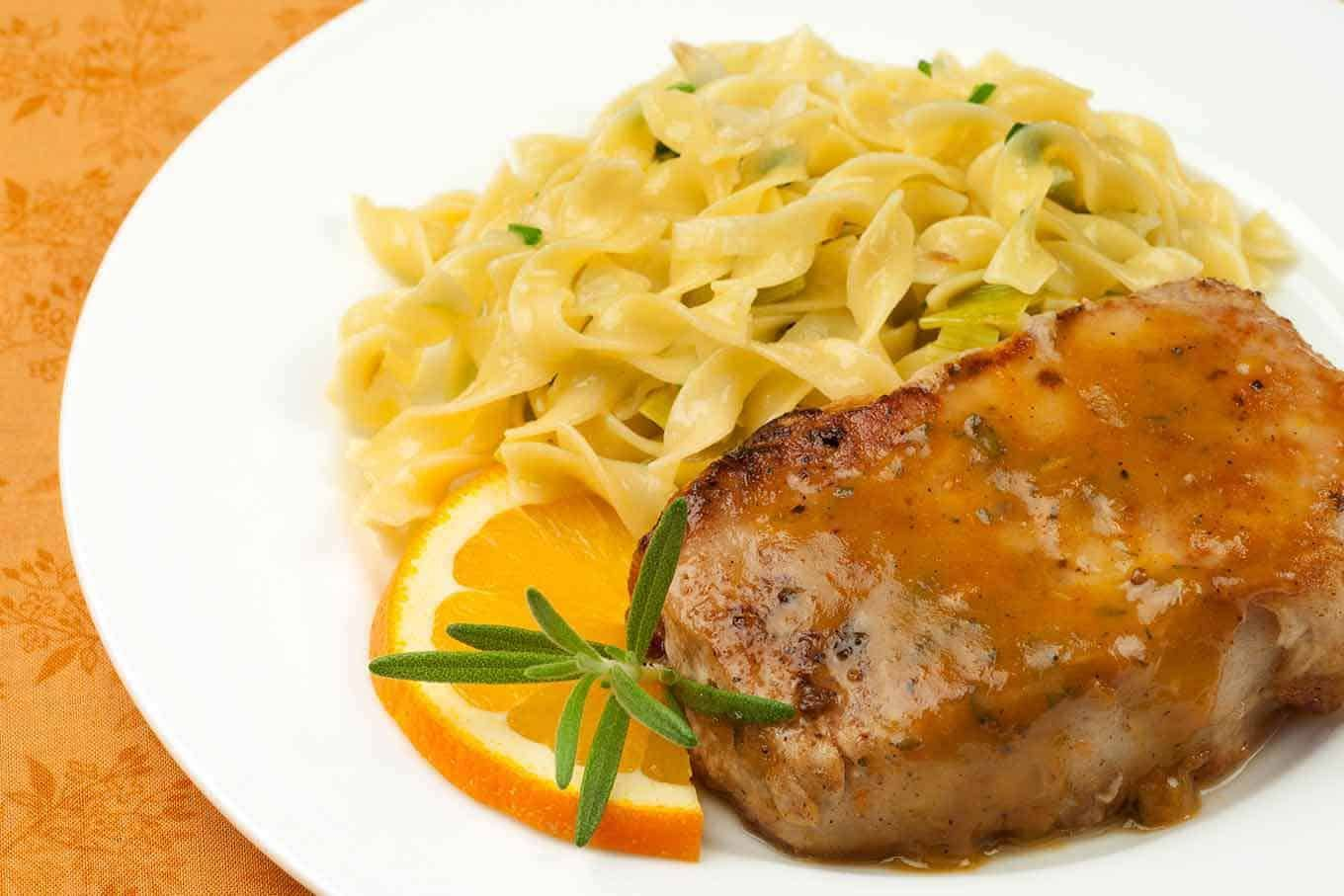 Orange And Rosemary Sauced Pork A flavorful pan sauce made from orange juice, Dijon-style mustard, honey and rosemary takes pork cutlets from dull to delicious with very little effort.