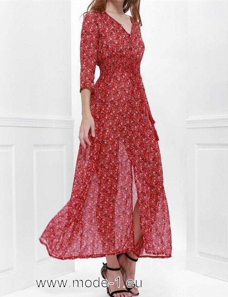 Damen Sommerkleid Lang in Rot mit Blumen Druck (mit ...