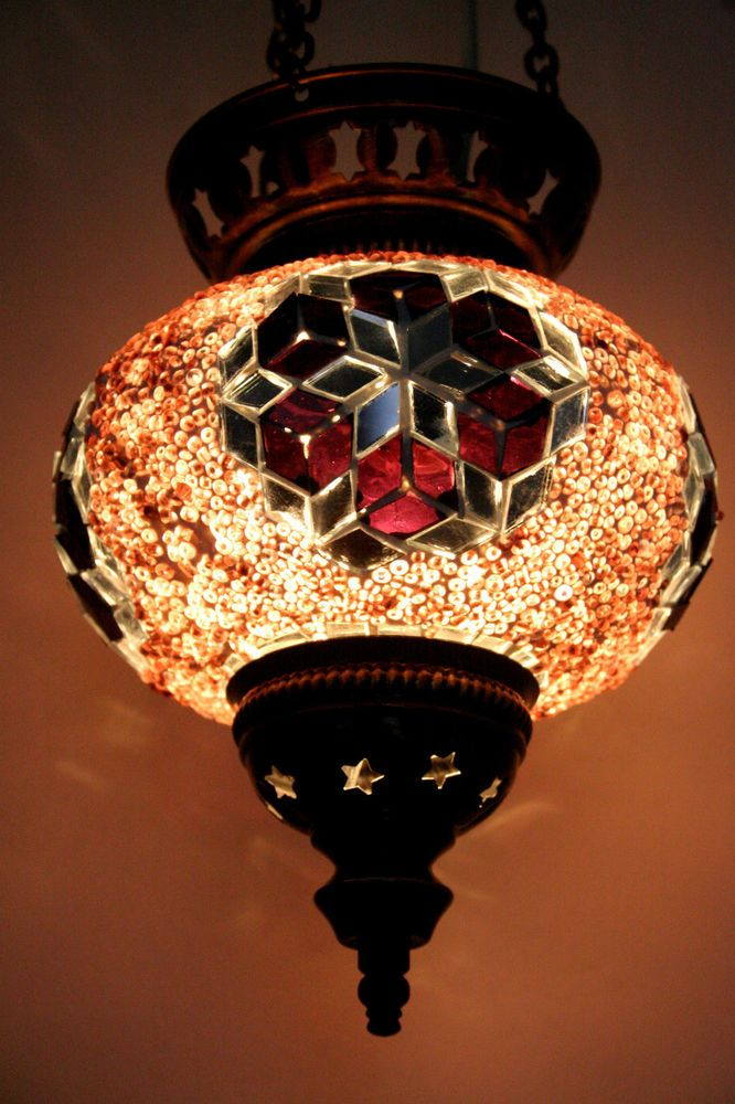 Large Turkish Moroccan Mosaic Hanging Lamp Shade Pendant