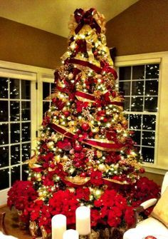 Gold & Red Christmas Tree with poinsettas