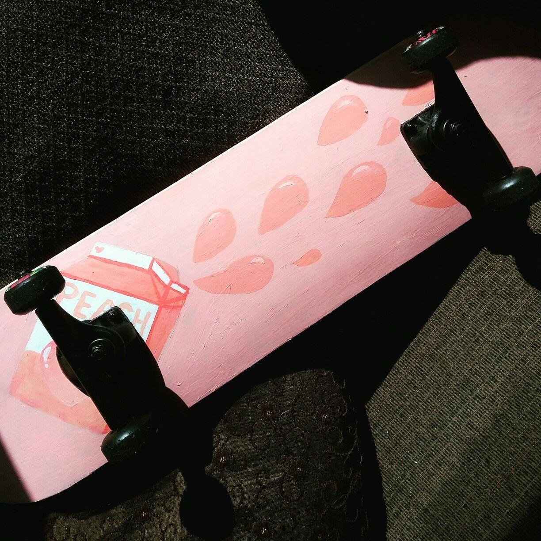 2c66b45e7a5b3d Peach milk aesthetic painted skateboard     aesthetic  tumblr  peach  milk