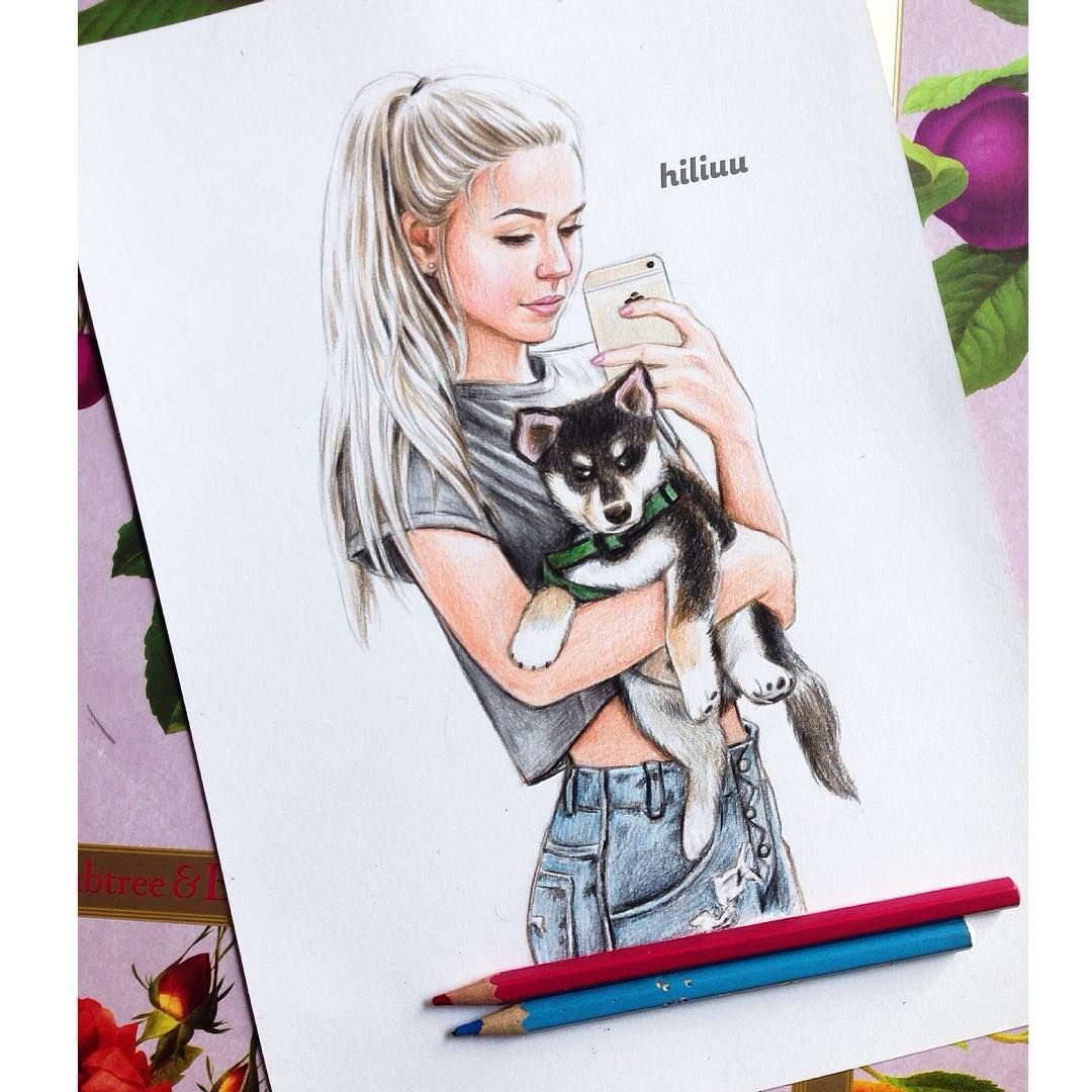 Little puppy and pretty girl which pets do you like scarlettleithold drawing pinterest - Dessins manga fille ...
