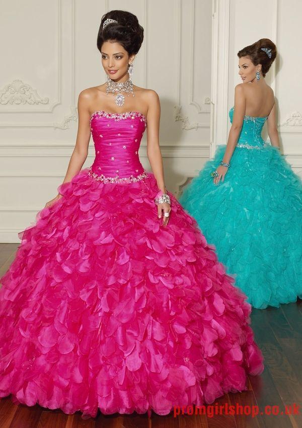 Gorgeous Ball gown strapless with jacket beading fuchsia blue ...