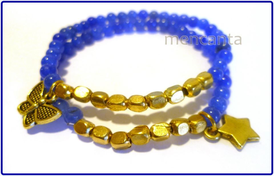Pulsera azul con dorado