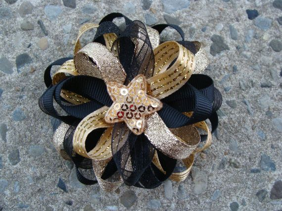 Silver and Black Hair Bow with lack headband by MyLuckyHairBow