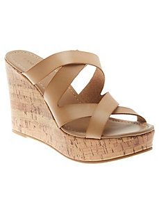2073b31eb1e Cork wedge slide sandal   Lane Bryant