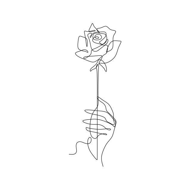 Photo of Strichzeichnung einer durchgehenden Linie einer Hand mit minimalem Blumenstil, einer,