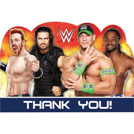 Wwe Party Thank You Notes 8pk Multicolor Wwe Party Walmart And