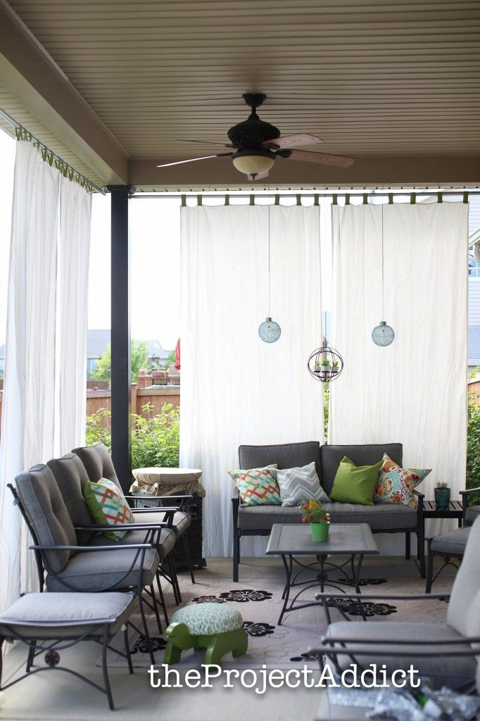 How To Make Your Own Diy Outdoor Curtains And Secure Them So They Wont Blow Away In The Wind