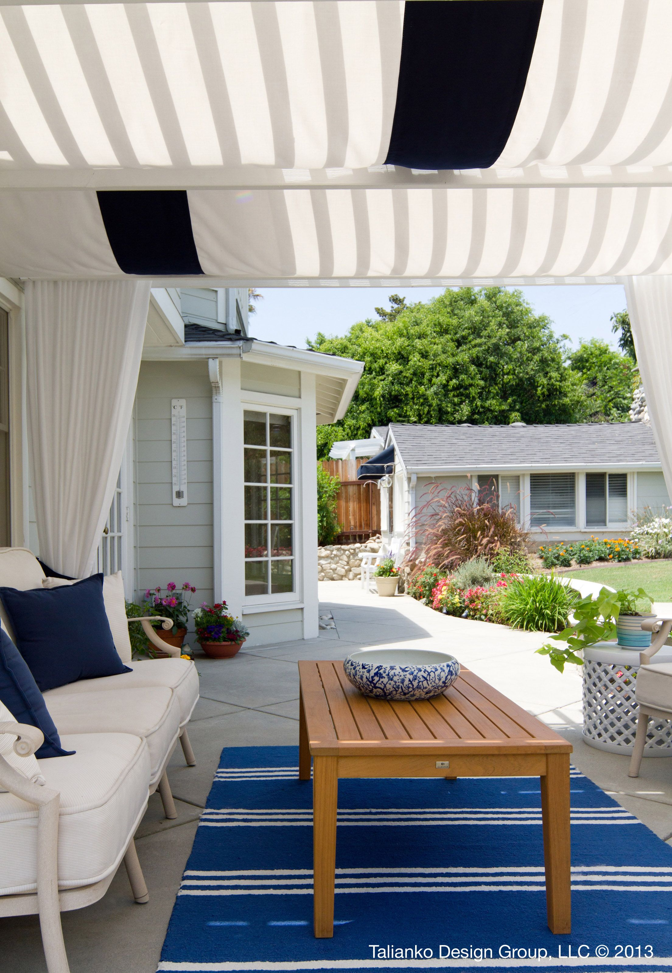 summer patio summer pool patio blue white drapery backyard