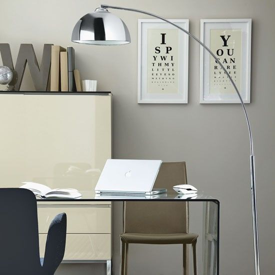Chic Grey Home Office Sophisticated Homeoffice Relaxed Simple