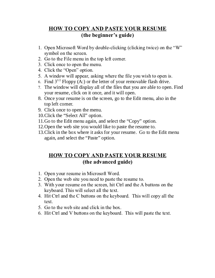Resume Templates Copy And Paste (1 di 2020