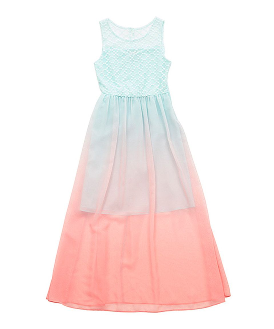Love this Mint & Pink Ombré Lace Dress - Girls by Rare Editions on #zulily! #zulilyfinds