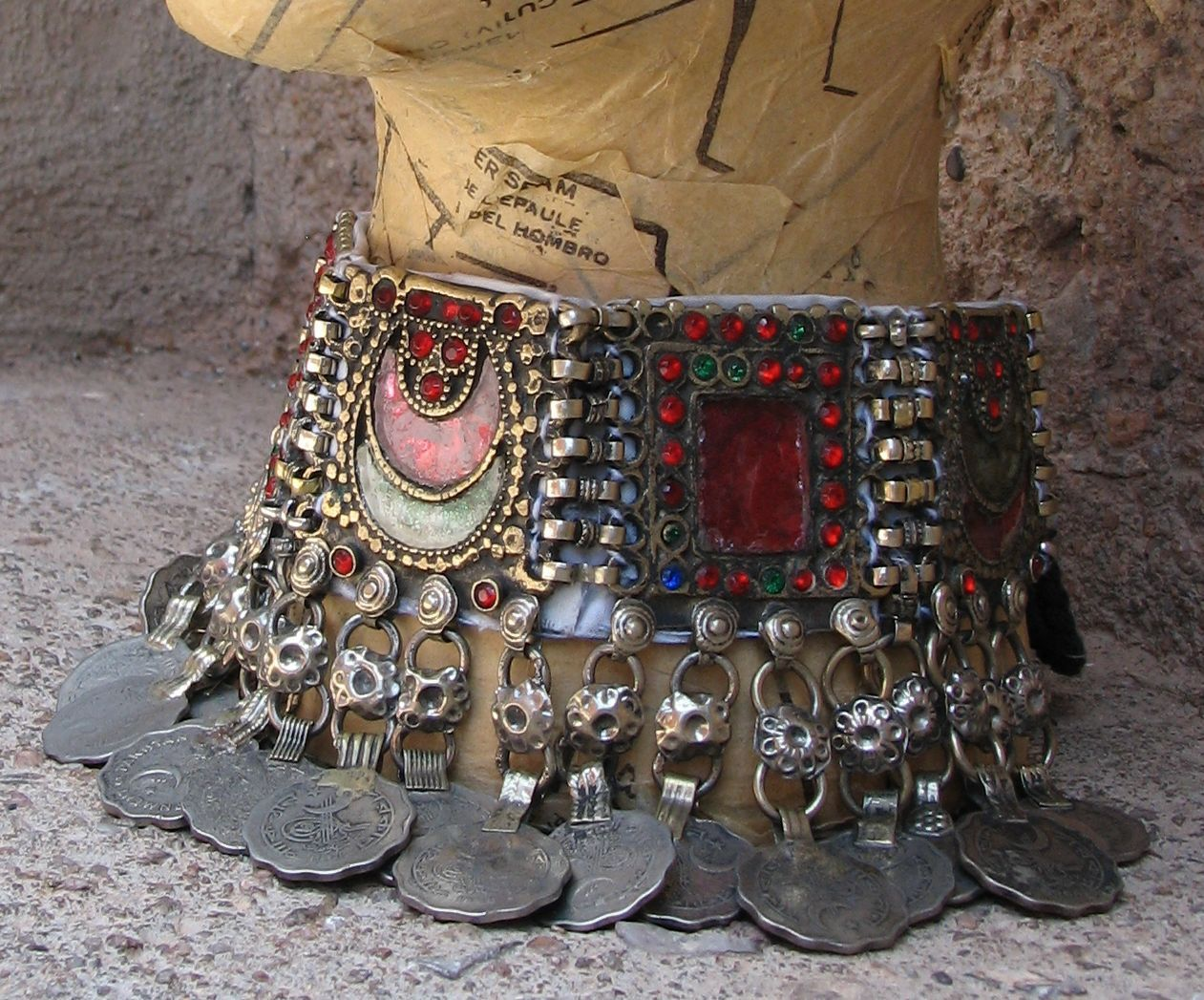 Unique Ethnic Tribal Belly Dance Kuchi Collar Necklace.