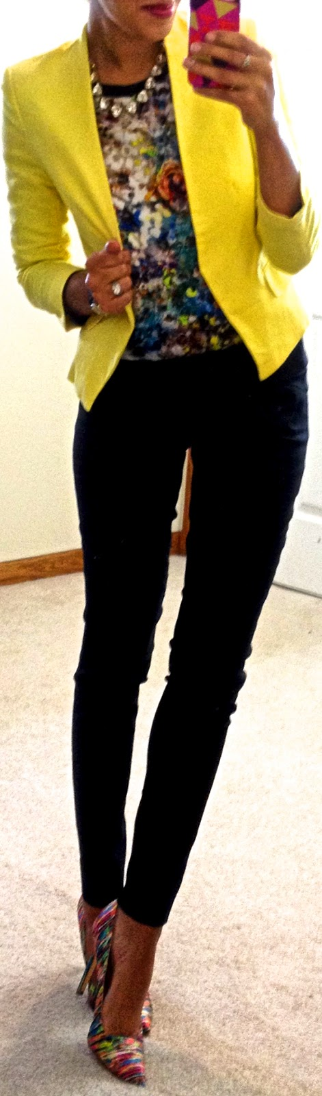 solid blazer + multi-colored top + solid pants + multi-colored shoes