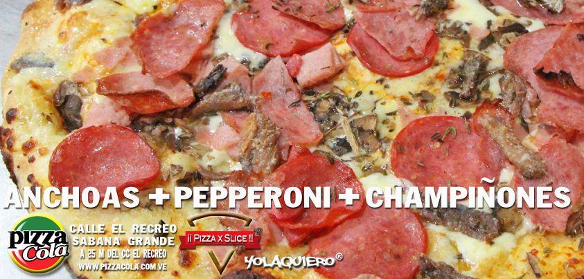 Pizza de anchoas, champiñones y pepperoni full queso y bien resuelta.La pizza como tienen que ser. PizzaCola www.pizzacola.com.ve